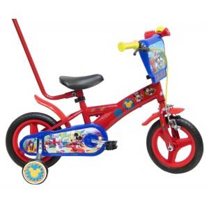 """Vélo enfant garçon Mickey - 10 pouces avec canne de guidage (1/3 ans) - Coloris Rouge - (""""Distributeur Officiel"""")"""
