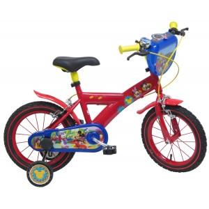 """Vélo enfant garçon Mickey - 14 pouces (3/5 ans) - Coloris Rouge - (""""Distributeur Officiel"""")"""