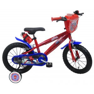 """Vélo enfant garçon Spiderman - 14 pouces (3/5 ans) - Coloris Rouge/Bleu - (""""Distributeur Officiel"""")"""