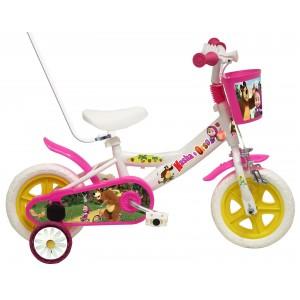 """Vélo enfant fille Masha et Michka - 10 pouces avec canne de guidage (1/3 ans) - Coloris Blanc - (""""Distributeur Officiel"""")"""