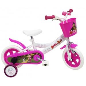 Tricycle Masha et Michka 10 pouces avec roulettes de stabilisation et panier