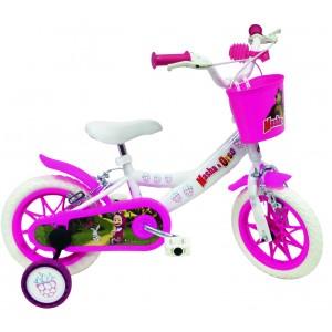 """Vélo enfant fille Masha et Michka - 12 pouces (2/4 ans) - Coloris Blanc - (""""Distributeur Officiel"""")"""