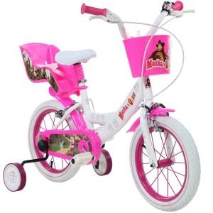 """Vélo enfant fille Masha et Michka - 14 pouces (3/5 ans) - Coloris Blanc - (""""Distributeur Officiel"""")"""
