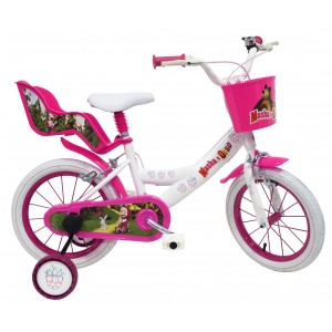 """Vélo enfant fille Masha et Michka - 16 pouces (5/7 ans) - Coloris Blanc/Rose - (""""Distributeur Officiel"""")"""