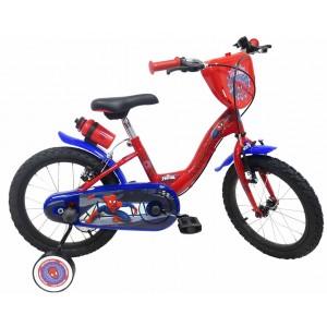 """Vélo évolutif enfant garçon Spiderman - 16 pouces (3/7 ans) - Coloris Rouge/Bleu - (""""Distributeur Officiel"""")"""