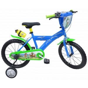 """Vélo enfant garçon Le voyage d'Arlo - 16 pouces (5/7 ans) - Coloris Bleu/Vert - (""""Distributeur Officiel"""")"""