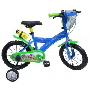 """Vélo enfant garçon Le voyage d'Arlo - 14 pouces (3/5 ans) - Coloris Bleu/Vert - (""""Distributeur Officiel"""")"""