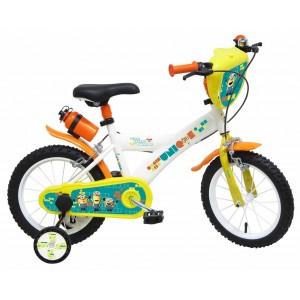 """Vélo enfant garçon Les Minions - 14 pouces (3/5 ans) - Coloris Jaune/Banc - (""""Distributeur Officiel"""")"""