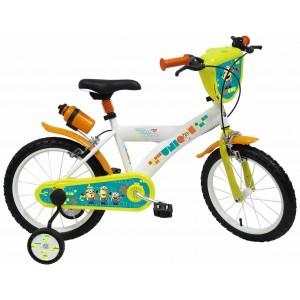 """Vélo enfant garçon Les Minions - 16 pouces (5/7 ans) - Coloris Jaune/Banc - (""""Distributeur Officiel"""")"""