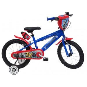 """Vélo enfant garçon TRANSFORMERS - 16 pouces (5/7 ans) - Coloris Bleu et Rouge - (""""Distributeur Officiel"""")"""