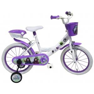 """Vélo fille DESCENDANTS 16 pouces (5/7 ans) - Coloris Blanc / Violet - (""""Distributeur Officiel"""")"""