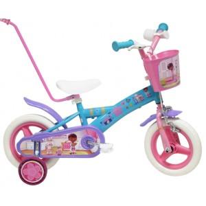 """Vélo enfant fille Docteur La Peluche - 10 pouces avec canne de guidage (1/3 ans) - (""""Distributeur Officiel"""")"""