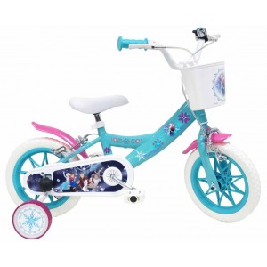 """Vélo enfant fille La Reine Des Neiges (Frozen) - 12 pouces (2/4 ans) - Bleu/Blanc/Rose - (""""Distributeur Officiel"""")"""