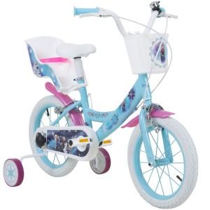 """Vélo enfant fille La Reine Des Neiges (Frozen) - 16 pouces (5/7 ans) - Coloris Bleu/Blanc/Rose - (""""Distributeur Officiel"""")"""