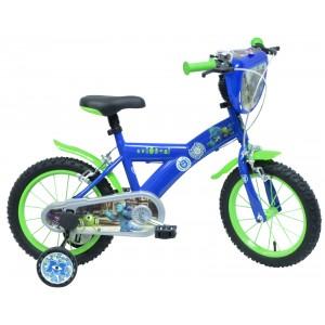 """Vélo enfant garçon MONSTRES & COMPAGNIE - 16 pouces (5/7 ans) - Coloris Bleu/Vert - (""""Distributeur Officiel"""")"""