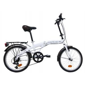 """Vélo pliant Route 66 fille/garçon- 20 pouces (7/9 ans) - Coloris Blanc - (""""Distributeur Officiel"""")"""