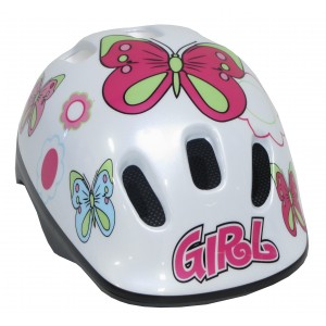 """Casque de vélo fille """"Papillon"""" - 4/10 ans - Coloris Blanc - (""""Distributeur Officiel"""")"""