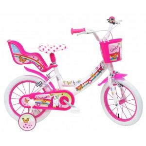 """Vélo enfant fille LICORNE - 14 pouces (3/5 ans) - Coloris Rose/Blanc - (""""Distributeur Officiel"""")"""