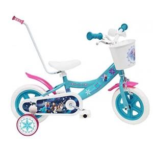 Vélo enfant fille La Reine des Neiges - 10 pouces avec canne de guidage
