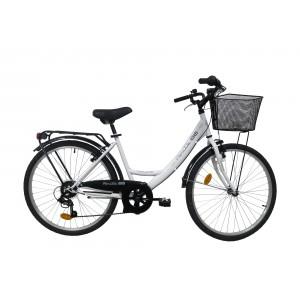 Vélo 26 pouces 6 vitesses ROUTE 66 - modèle CITY blanc