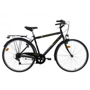 Vélo adulte 28 pouces Trekking Route 66 - noir - cadre aluminium