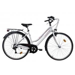 Vélo trekking 28 pouces Route 66 - modèle blanc cadre aluminium