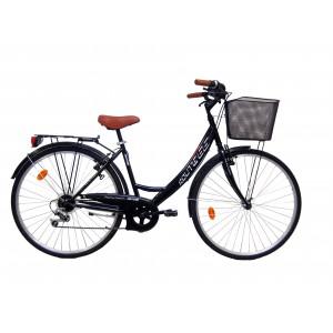 """Vélo 28"""" VTC Calipso mixte ROUTE 66 - couleur noire"""
